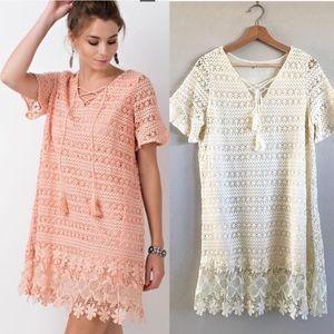 Easel Crochet / lace floral dress Flutter Sleeves